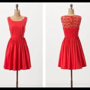 Moulinette Soeurs Red Orange Lace Back Dress